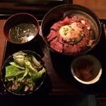 45936341 - 炙りユッケ温玉のせ丼(肉1.5倍)