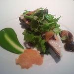 45955689 - サワラのコンフィ~西京焼きのイメージ 緑菜をマスタードであえて~
