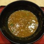 """えびすや - """"カレーうどん 大盛"""" の麺を頂くと、カレー出汁が残ります。"""