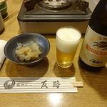 ちゃんこ 友路 - お通し(くらげ酢)、瓶ビール:600円