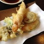 佳蕎庵 - エビの天富良セット1420円の天ぷら