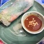 ニャーヴェトナム - □+Aセット 220円(内税)□の生春巻のアップ。タレの味は味噌っぽかったです。