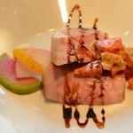 VERANDA - 豚肩ロースのグリエ、竹鶏燻製玉子のラヴィゴットソース