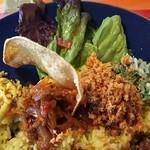 46363798 - サラダ、パパダン、副菜2種とポルサンボル・シーニサンボル