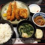 カルマ - 海老フライ、ヒレカツ定食960円