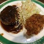 気まぐれキッチン石橋 - ハンバーグとカニクリームコロッケ定食