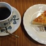 森文 - ケーキセットのコーヒーと金柑のタルト