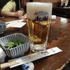 魚や - 料理写真:生ビール中ジョッキ&その日のお通し