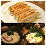 横浜家系ラーメン 久米川商店 - 左が塩ラーメン 右が醤油ラーメン