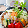 野菜の蒸籠蒸し 和風バーニャカウダーソース