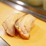 栄寿司 - 2016.1 サーモン味噌漬け(1貫110円)