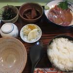 料理 萬口 - かつお茶漬け満腹セット 1990円(2015.12)