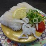 くろしお回転寿司 - 生簀のトラフグ(ふぐ皮湯引き付)350円(税別)