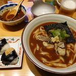 驛釜きしめん - 牡蠣と九条ネギの味噌きしめん(天むすセット) 1210円(税別)
