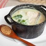 チャヤマクロビ - 菜の花とサーモンのクラムチャウダー ココット煮