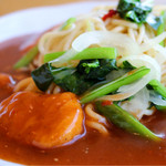 ブルボン - 料理写真:チキンナゲットと小松菜のあんかけスパ