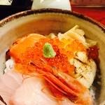 神田 本陣房 - 2016/1「本日のまかない丼と手打ちそば」の海鮮丼