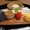 伊勢神泉 - 料理写真:ショコラビタープリン、いちご、サフランアイス、伊勢芋蜜柑饅頭