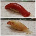 節魚 すし宗 - 料理写真:◆づけ・・赤身の旨みを感じる品。 ◆鯛・・上品な脂で美味しい。