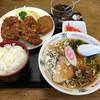 ますや食堂 - 料理写真:「唐揚げ(2ケ)・コロッケ・ライス・半ラーメンセット」1000円