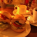 coffee shop KAKO  - H27/7カイザーサンドセット、玉子&チーズ