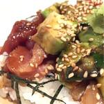 天ぷら天草水産研究所 - 日替わりセット550円のアボカド海鮮丼
