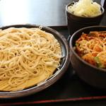 ゆで太郎 - ミニかきあげ丼セット もり 500円。