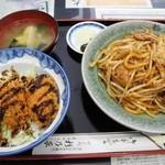 杉乃家 - カキフライ丼+浪江焼そば定食¥1,200