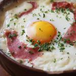 カフェ サカイ - 冬野菜のグラタン -生ハムと卵をのせて