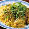 魚と春雨のココナッツ炒め、ふりかけパクチー