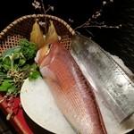47630755 - 本日の主役達                       甘鯛、太刀魚、筍、旬野菜
