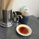 赤萬餃子 - こちらは通常の酢醤油+ラー油