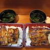 うな泉 - 料理写真:(左)特選うな重 松、肝吸い、お新香:2100円、(右)坂東太郎うな重(1本)、肝吸い、お新香:2800円♡