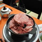 米久本店 - テーブルにセットされたお肉、2人前上肉