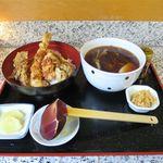 そば処 山三 大山 - 料理写真:天丼セット(880円)