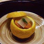 霞町 すゑとみ - 赤貝と雲丹の酢の物