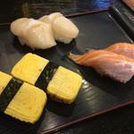立ち寿司 - 2016年2月 玉子、サーモン、貝柱