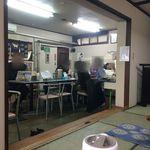 ひまわり - 【2015年12月】店内(座敷)からテーブル席側を臨む、訪問時は男性だらけだった、この後1組のおばちゃん2名来訪。