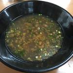 47749913 - 最後は丼につけダレを投入して茹で湯スープとしていただきます