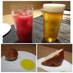 クッカーニャ - 料理写真:「ビール(800円)」と「カシスオレンジ(800円)」を頂きながら・・ ◆パンは「全粒粉パン」と「ローズマリーのフォッカチャ」が出されます。どちらも追加可能。