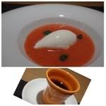 クッカーニャ - 料理写真:◆あまおうのジェラート、ヨーグルトアイス添え。◆丁寧に淹れられた「モカ100%珈琲」、、ストレートで頂けます。