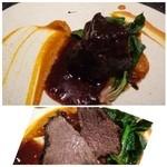 クッカーニャ - 料理写真:ホホ肉は軽く食感を残す程度に煮こまれたそう。 実は二人ともワイン煮込みは好まないのですが、かなり赤ワインの風味が強いので他店とは違う味わいでした。 添えられた人参ピューレが甘く美味しいですよ。