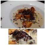 クッカーニャ - 料理写真:◆菊芋のスープ、フォアグラ添え・・菊芋のチップと黒トリュフが添えられています。 これとても美味しい品でした。