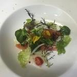 レストラン ペルージュ - 本マスのコンフィと菜花、新玉ネギのサラダ