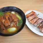 福香園 - 豚角煮ラーメンと焼き餃子