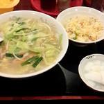 明華楼 - タン麺+半チャーハン(800円)