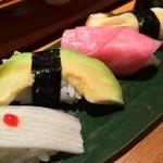 八彩懐石 長峰 - 野菜寿司:長芋/アボカド/赤かぶ/椎茸