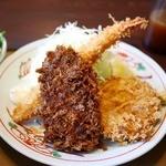 甘楽亭 - 海老フライ、メンチカツ、たれヒレカツの3種
