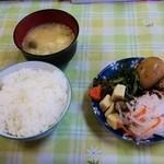 どりーむ - お好み焼きセット(700円)の惣菜バイキング・ライス・味噌汁