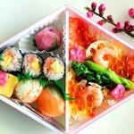 小僧寿し - 料理写真:ひなまつりセット 桃の花を添えて